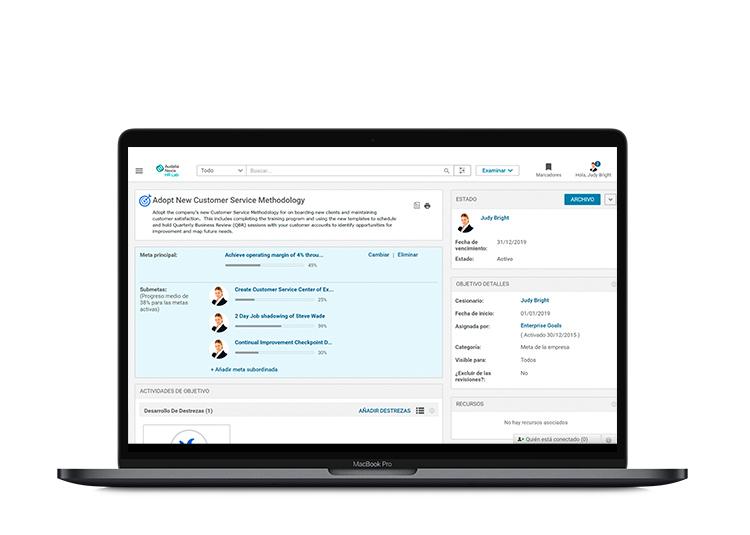 El sistema ayuda a los equipos de RRHH y managers a realizar las evaluaciones de los empleados según sus objetivos.