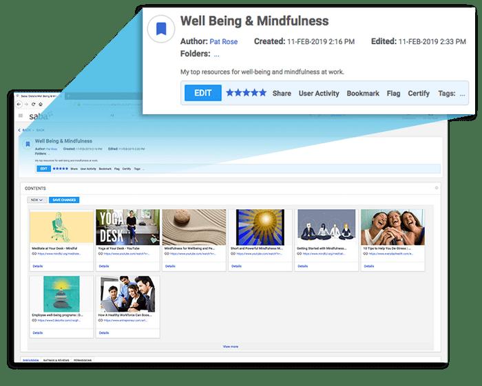 Los empleados pueden organizar todos los contenidos por colecciones y después compartirlo si lo desean.